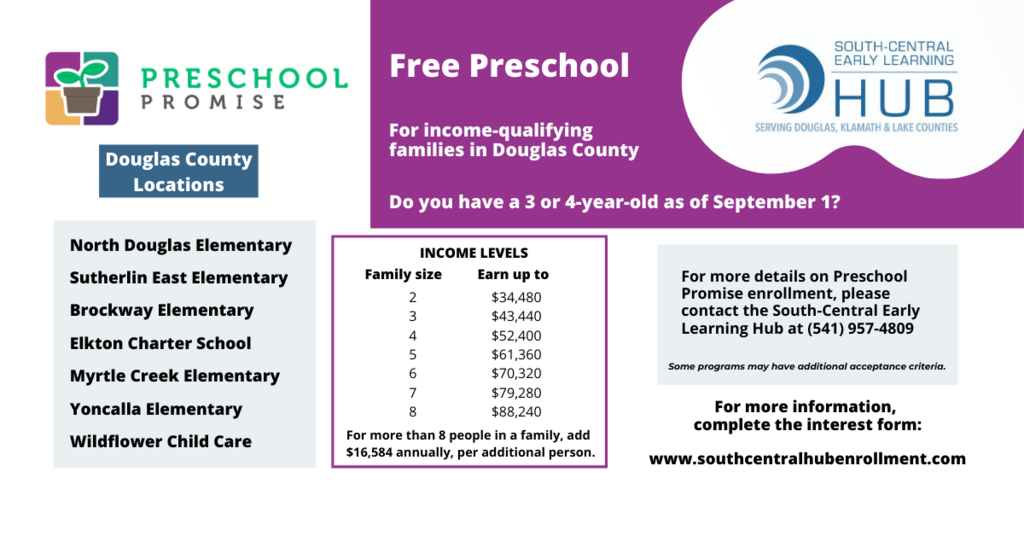 Preschool Promise information including income levels. Call South-Central Early Learning Hub at 541-957-4809